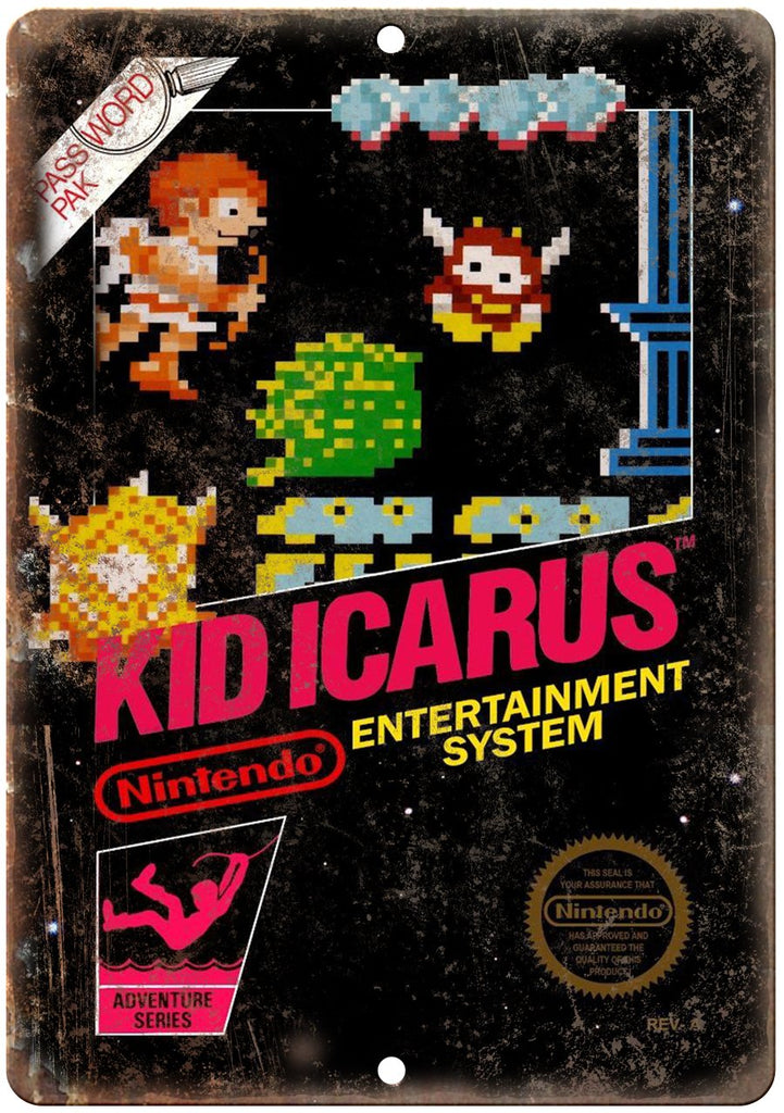 Kid Icarus Nintendo Cartridge Cover Art Metal Sign
