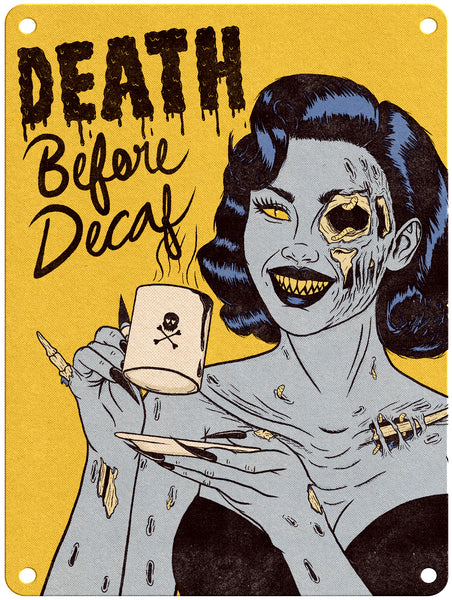 "Jenny Richardson - Death Before Decaf - 9"" x 12"" Metal Print"