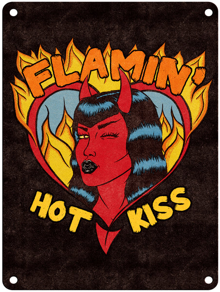 "Jenny Richardson - Flamin' Hot Kiss - 9"" x 12"" Metal Print"