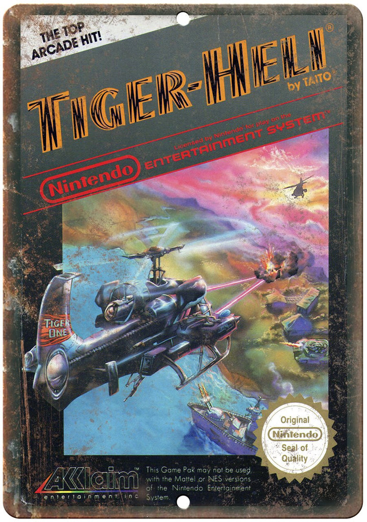 Tiger-Heli Nintendo Cartridge Cover Art Gaming Metal Sign