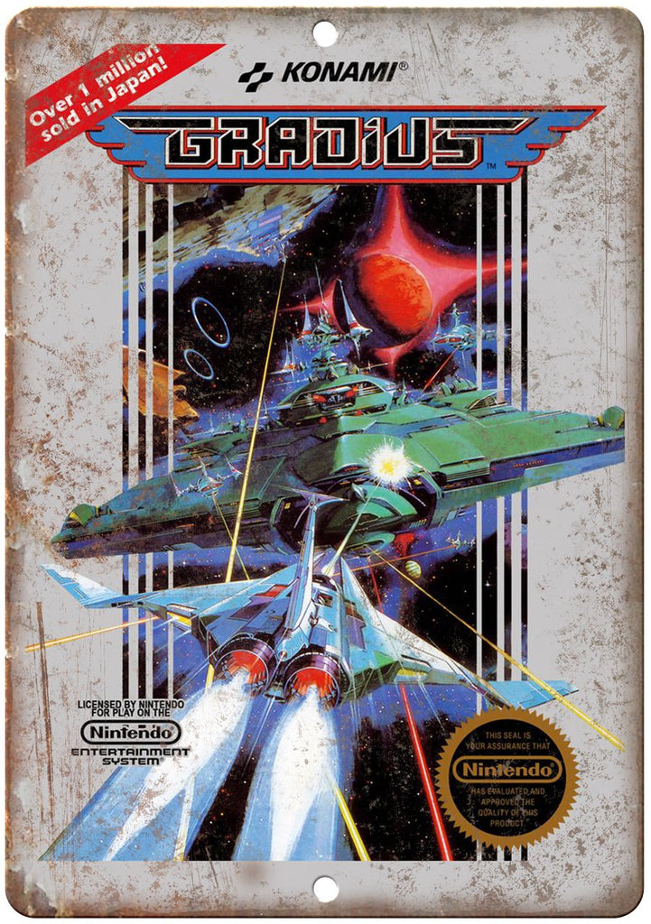 Gradius Konami Nintendo Cover Art Gaming Metal Sign