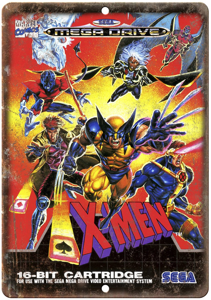 X-Men Sega Mega Drive Cartridge Cover Art Gaming Metal Sign