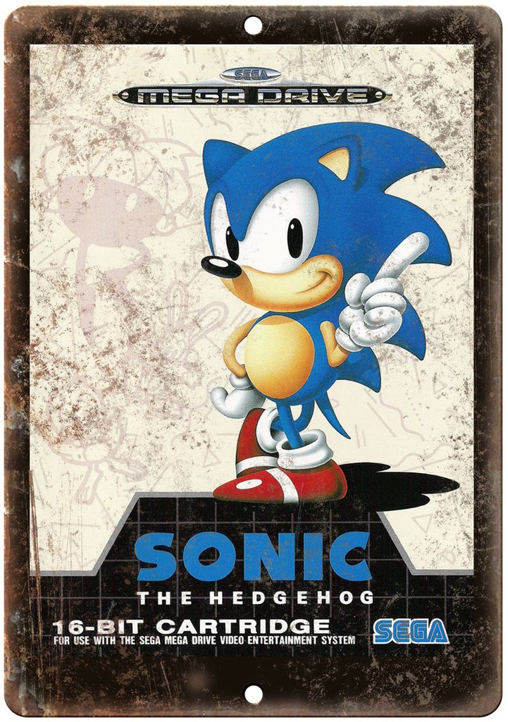 Sonic the Hedgehog Sega Cartridge Cover Art Gaming Metal Sign