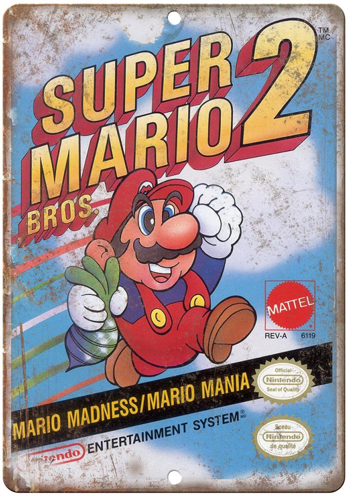 Super Mario Brothers 2 Nintendo Cartridge Art Gaming Metal Sign