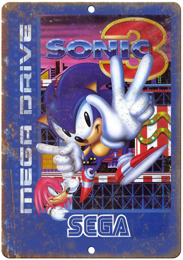 Sonic Mega Drive Sega Cartridge Art Gaming Metal Sign