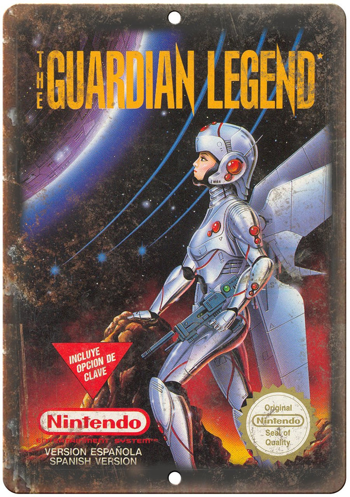 The Guardian Legend Nintendo Cartridge Art Gaming Metal Sign