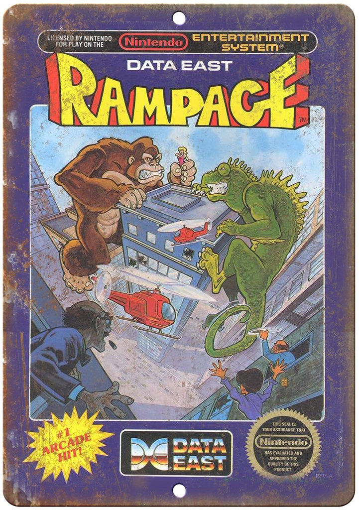 Rampage Nintendo Data East Cartridge Art Gaming Metal Sign