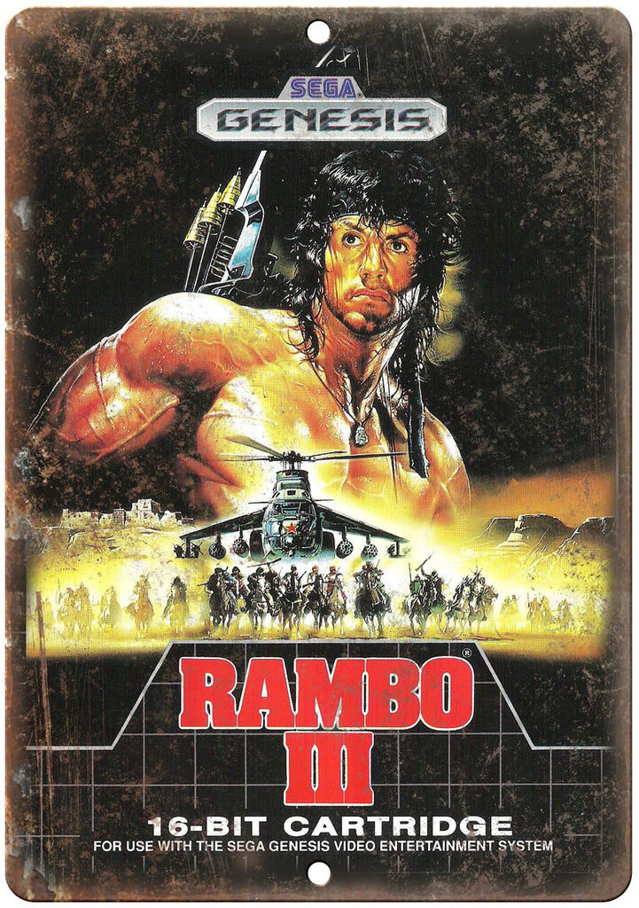 Rambo III Sega Genesis Cartridge Art Gaming Metal Sign