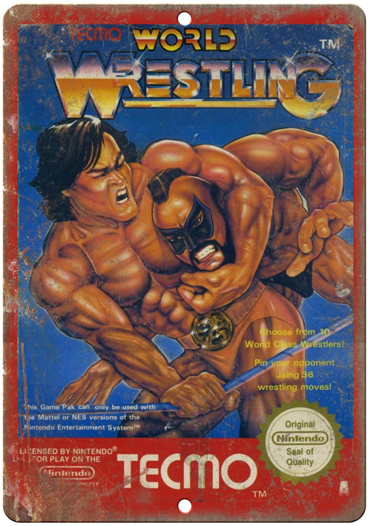 World Wresteling Nintendo Cartridge Art Gaming Metal Sign