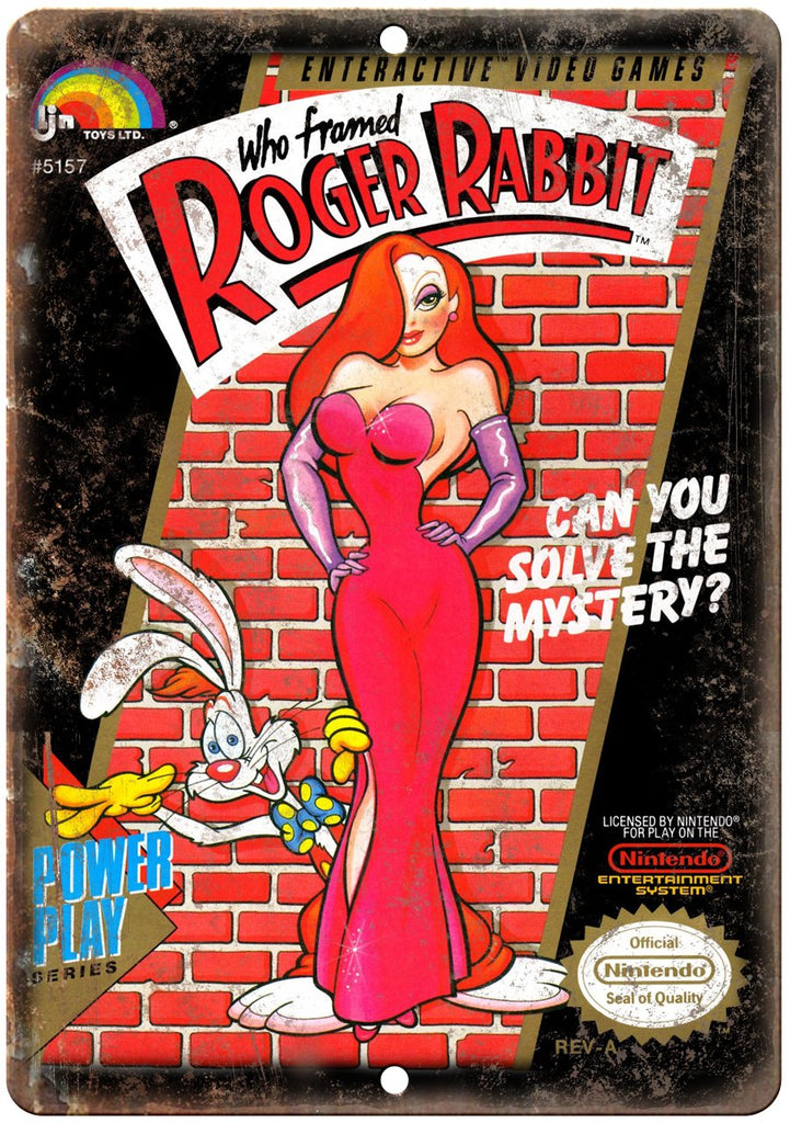 Roger Rabbit Nintendo Cartridge Art Gaming Metal Sign