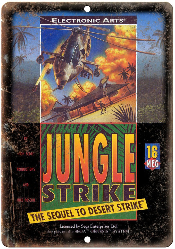 Jungle Strike Sega Genesis Cartridge Art Gaming Metal Sign