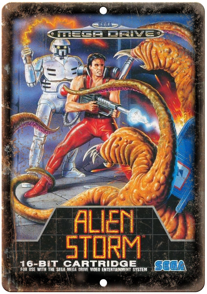 Alien Storm Sega Genesis Cartridge Art Gaming Metal Sign