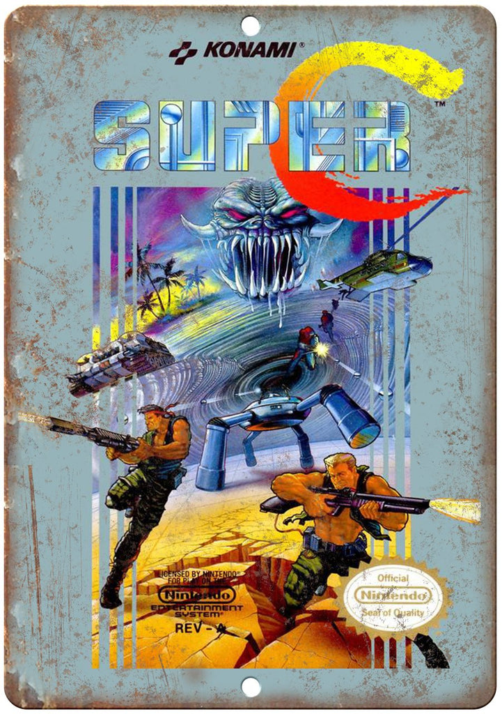 Super Contra Konami Nintendo Cartridge Art Gaming Metal Sign