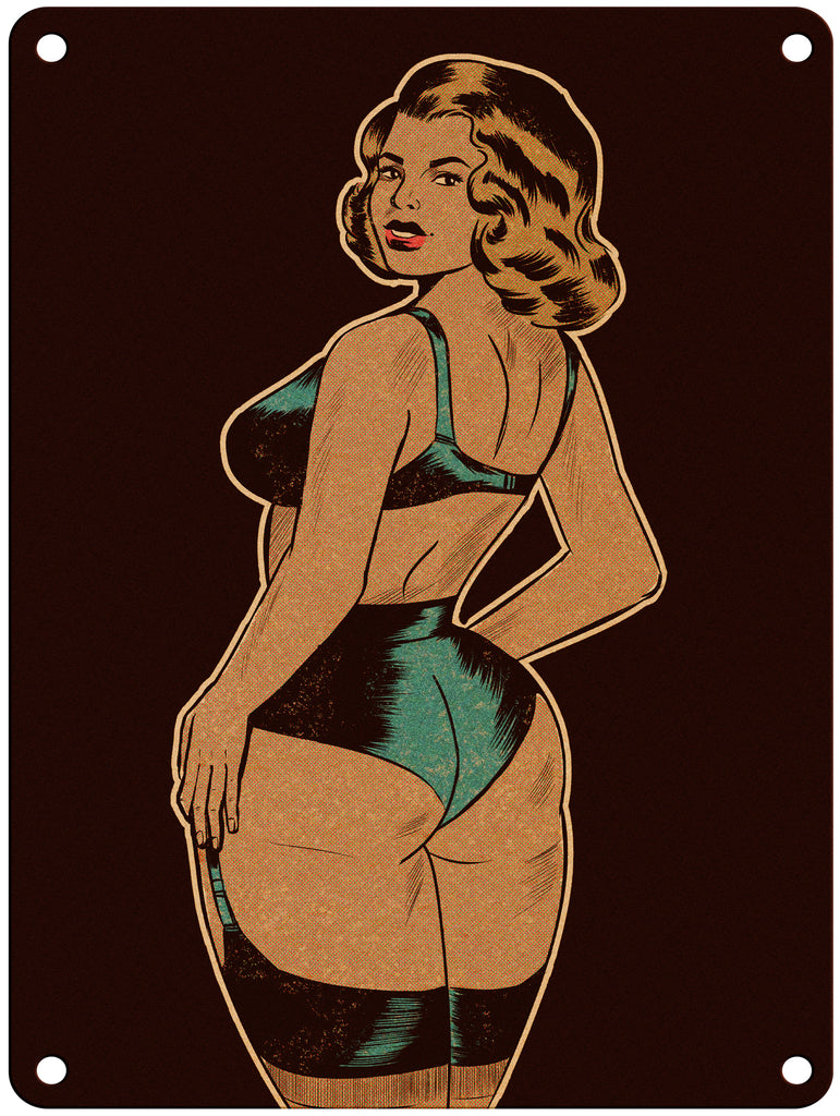 "Copy of Atomic Demon - Retro Pinup - 9"" x 12"" Metal Print"