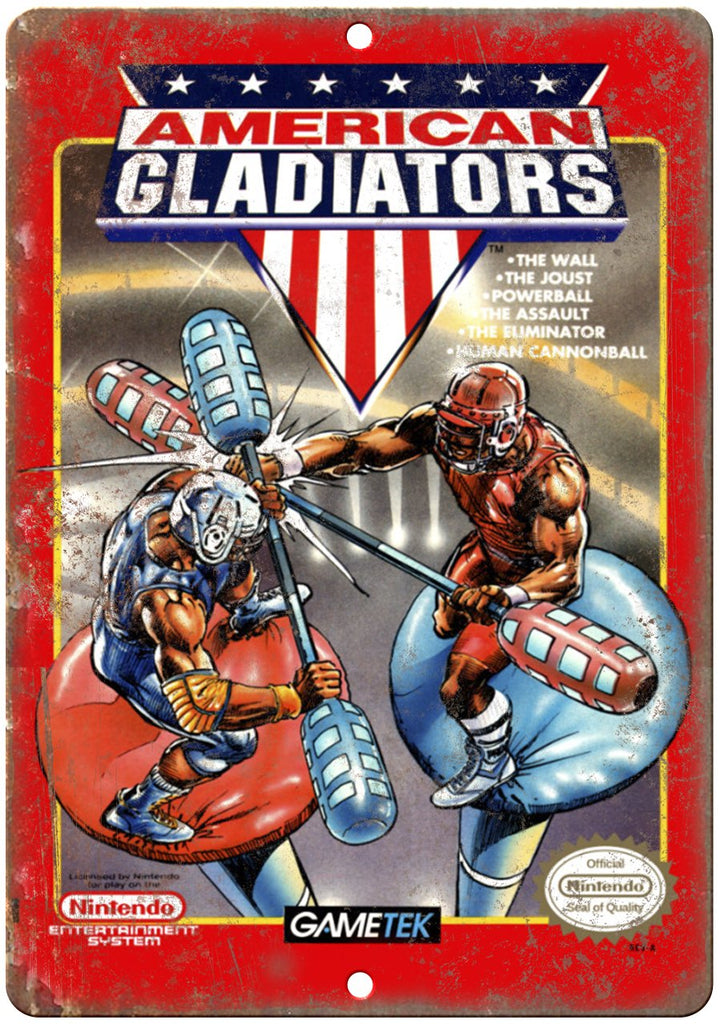 American Gladiators Nintendo Cartridge Art Gaming Metal Sign