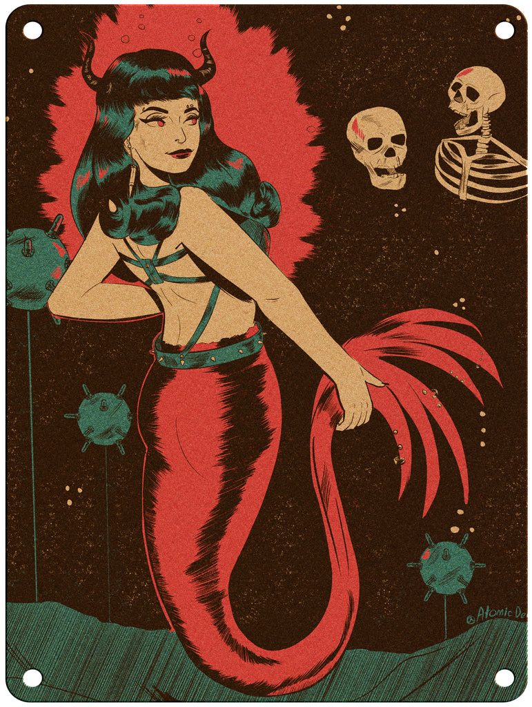 "Atomic Demon - Goth Mermaid - 9"" x 12"" Metal Print"
