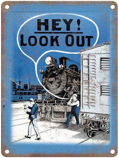 "1965 Railroad Safety Council Hey look out! Poster 9"" x 12"" Reproduction Metal Print"