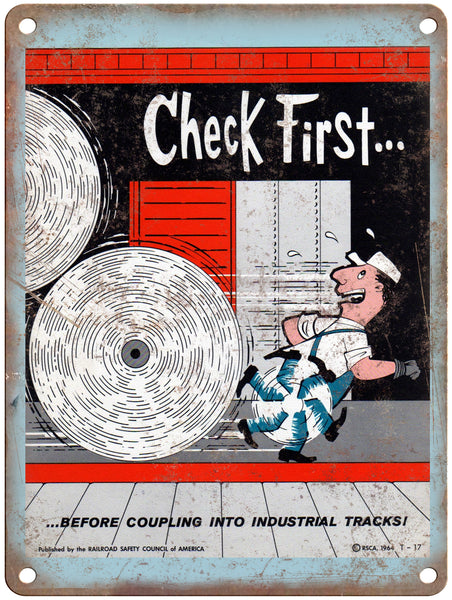 "1965 Railroad Safety Council Check First Railroad Poster 9"" x 12"" Reproduction Metal Print"