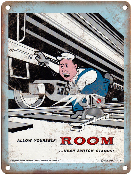 "1965 Railroad Safety Council Allow Room Railroad Poster 9"" x 12"" Reproduction Metal Print"
