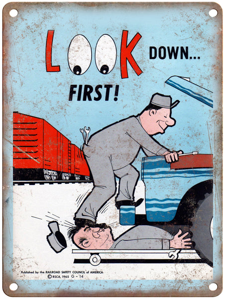 "1965 Railroad Safety Council Look Down Railroad Poster 9"" x 12"" Reproduction Metal Print"