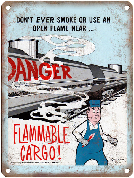 "1965 Railroad Safety Council Flammable Cargo Railroad Poster 9"" x 12"" Reproduction Metal Print"
