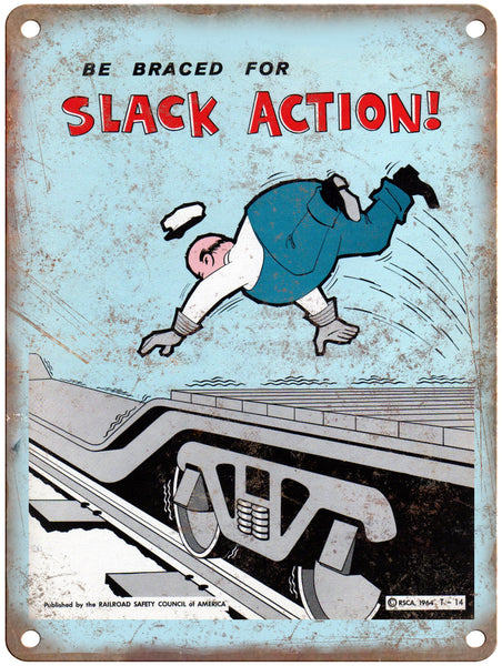 "1965 Railroad Safety Council Slack Action Railroad Poster 9"" x 12"" Reproduction Metal Print"
