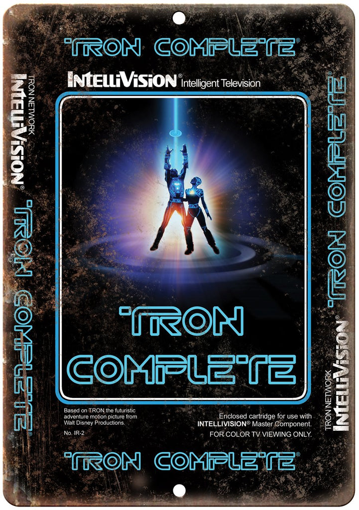 Tron Intellivision Video Game Box Art Metal Sign