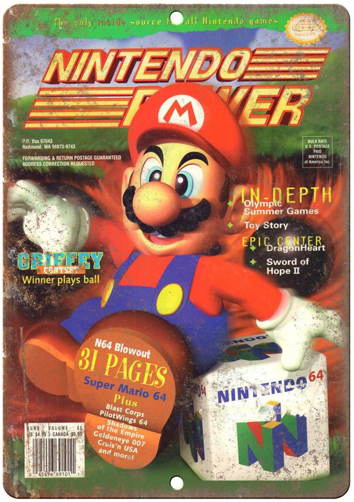 Nintendo Power Magazine Super Mario Gaming Metal Sign