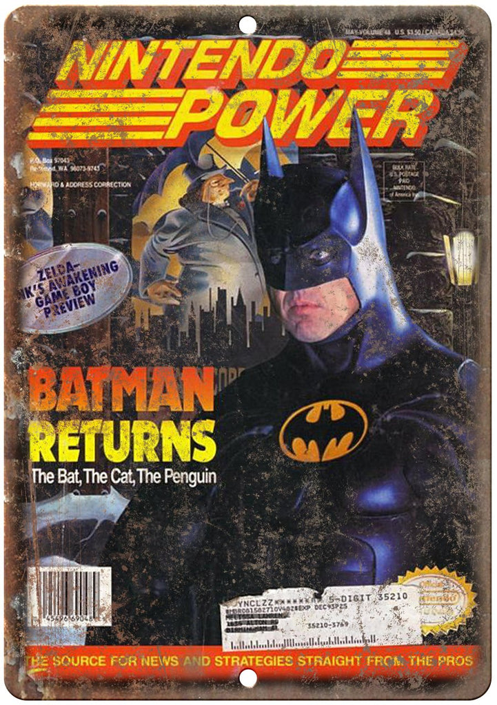 Nintendo Power Magazine Batman Gaming Metal Sign