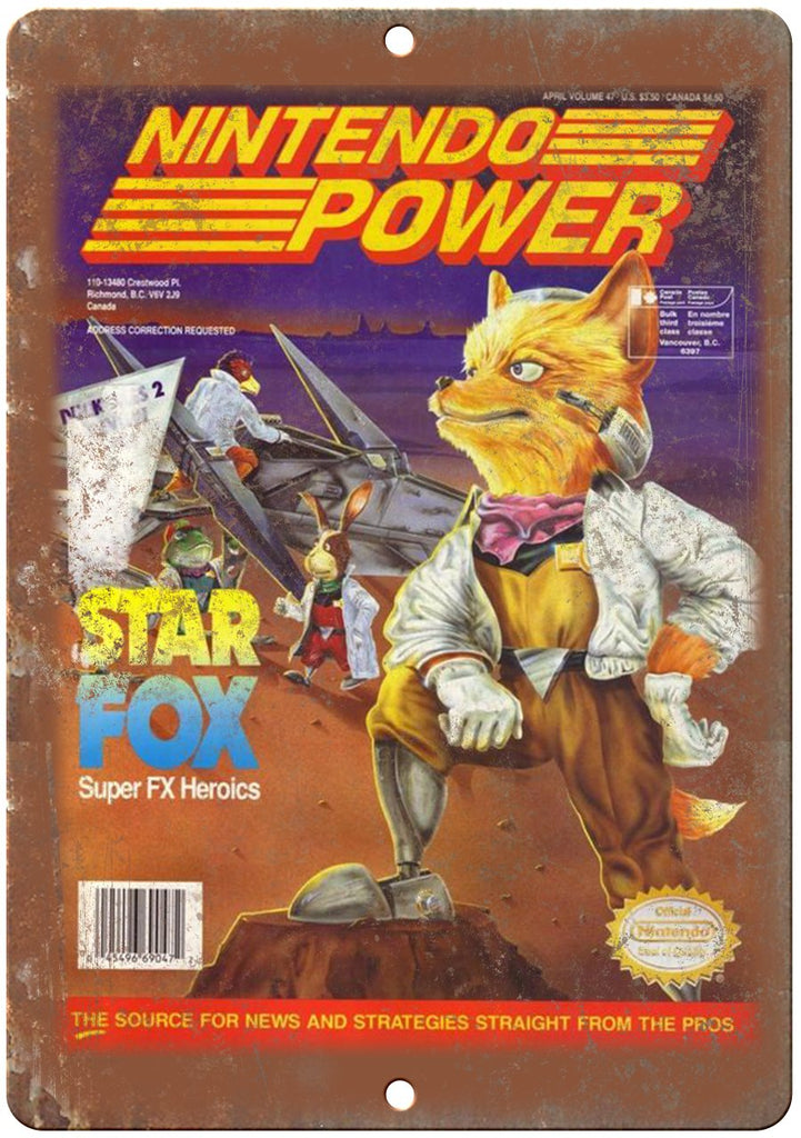 Nintendo Power Magazine Star Fox Metal Sign