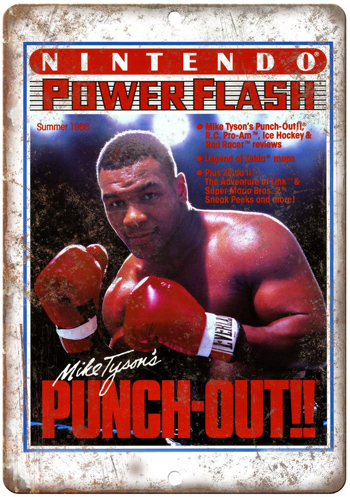 Nintendo Power Mike Tyson's Punch Out Metal Sign