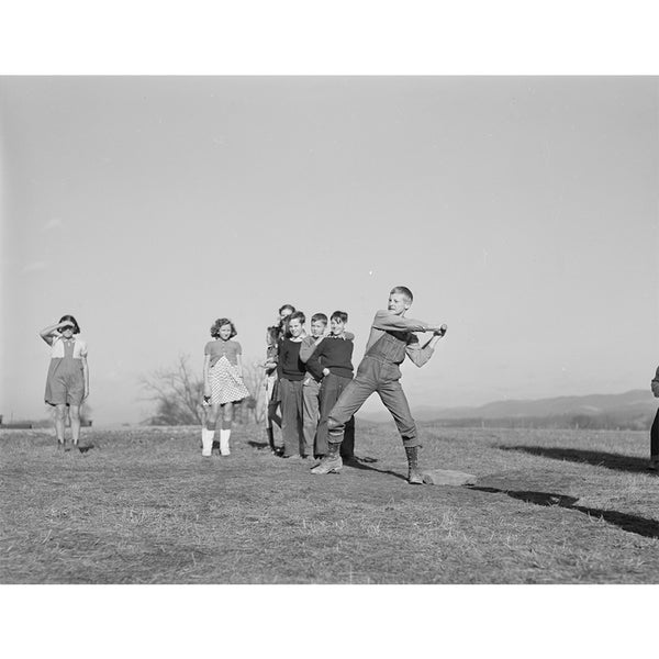 1941 Baseball game, schoolyard, homestead school. Dailey, West Virginia H07