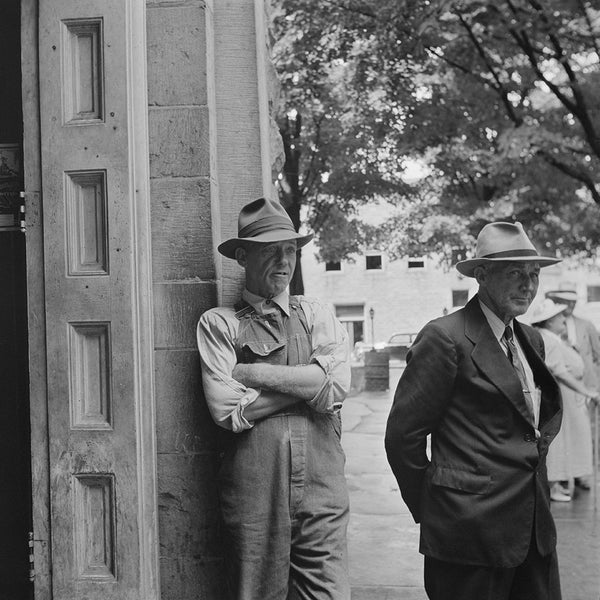 1942 Summersville, West Virginia. Gossiping in the Courthouse Door H19