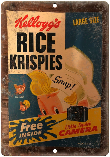 Kelloggs Rice Krispies Squirt Camera Box Metal Sign