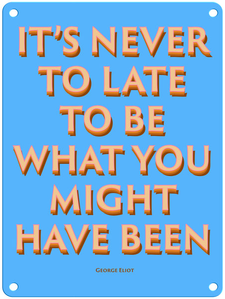 "It's Never Too Late 9"" x 12"" Metal Sign"