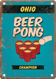Ohio Beer Pong Champion Metal Sign