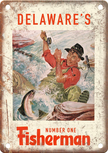 Delaware's Number One Fisherman (Freshwater) Metal Sign