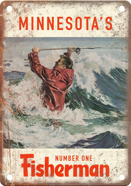 Minnesota's Number One Fisherman (Saltwater) Metal Sign