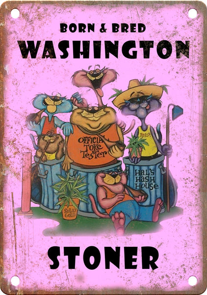 Washington Born & Bred Stoner Metal Sign
