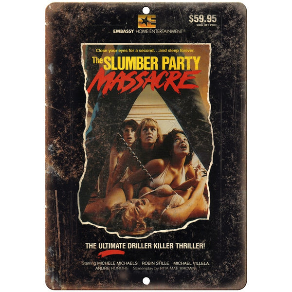 "Slumber Party Massacre VHS Cover 10"" x 7"" Reproduction Metal Sign"