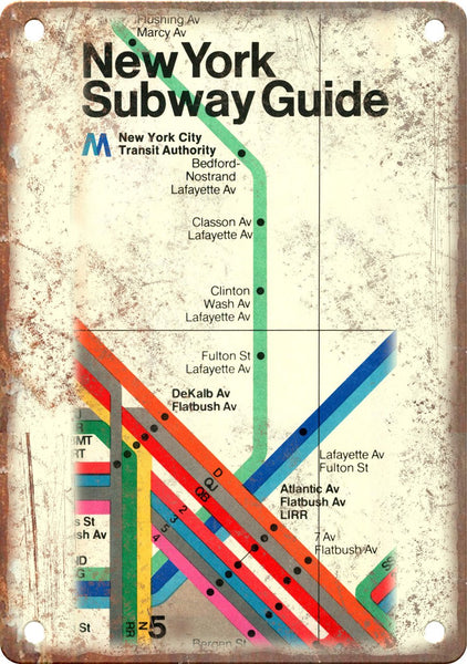 New York City Subway Guide Map Ad Metal Sign