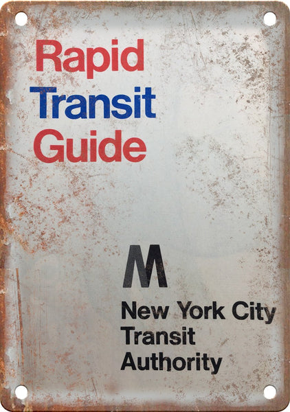New York City Rapid Transit Guide Map Metal Sign