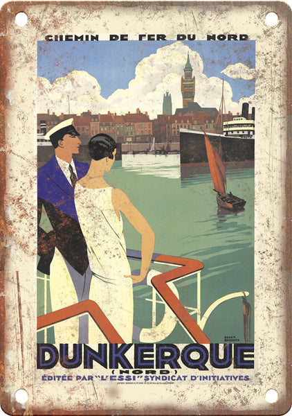 Dunkerque Vintage Travel Poster Metal Sign