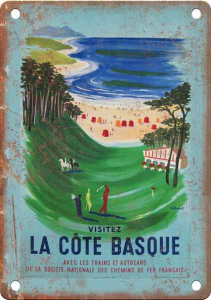 La Cote Basque Vintage Travel Poster Metal Sign