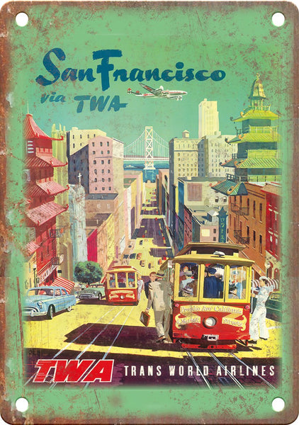 San Francisco TWA Airlines Travel Poster Metal Sign