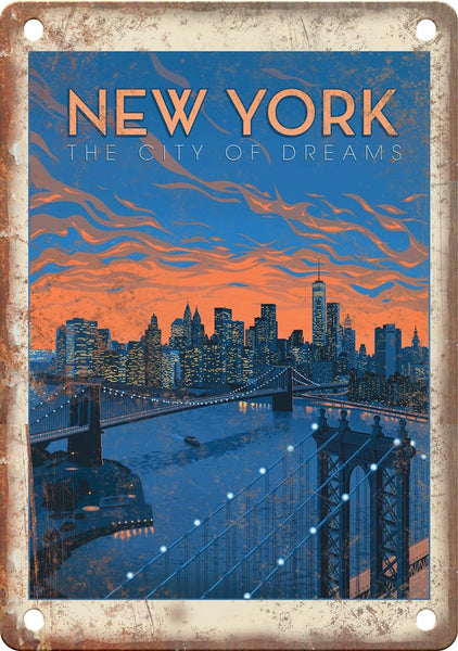 New York The City of Dreams Travel Poster Metal Sign
