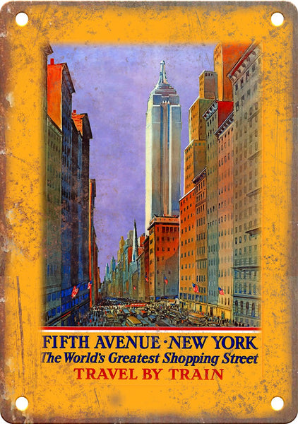 New York City Fifth Avenue Travel Poster Metal Sign