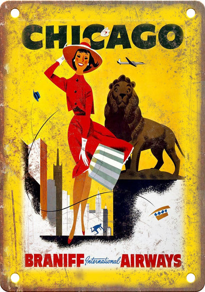 Chicago Vintage Travel Poster Art Metal Sign