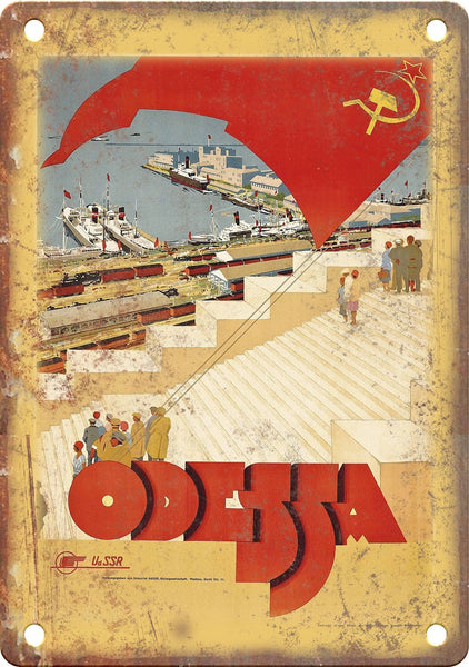 Odessa USSR Vintage Travel Poster Metal Sign