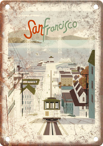 San Francisco Vintage Travel Poster Art Metal Sign